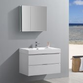 Valencia 36'' Glossy White Wall Hung Modern Bathroom Vanity w/ Medicine Cabinet, Vanity Base: 36'' W x 19'' D x 23-11/16'' H, Medicine Cabinet: 29-1/2'' W x 5'' D x 26'' H