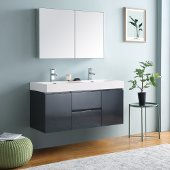 Valencia 48'' Dark Slate Gray Wall Hung Double Sink Modern Bathroom Vanity w/ Medicine Cabinet, Vanity Base: 48'' W x 19'' D x 23-11/16'' H, Medicine Cabinet: 39-1/2'' W x 5'' D x 26'' H