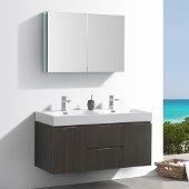 Valencia 48'' Gray Oak Wall Hung Double Sink Modern Bathroom Vanity w/ Medicine Cabinet, Vanity Base: 48'' W x 19'' D x 23-11/16'' H, Medicine Cabinet: 39-1/2'' W x 5'' D x 26'' H
