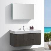 Valencia 48'' Gray Oak Wall Hung Modern Bathroom Vanity w/ Medicine Cabinet, Vanity Base: 48'' W x 19'' D x 23-11/16'' H, Medicine Cabinet: 39-1/2'' W x 5'' D x 26'' H