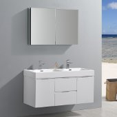 Valencia 48'' Glossy White Wall Hung Double Sink Modern Bathroom Vanity w/ Medicine Cabinet, Vanity Base: 48'' W x 19'' D x 23-11/16'' H, Medicine Cabinet: 39-1/2'' W x 5'' D x 26'' H