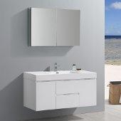 Valencia 48'' Glossy White Wall Hung Modern Bathroom Vanity w/ Medicine Cabinet, Vanity Base: 48'' W x 19'' D x 23-11/16'' H, Medicine Cabinet: 39-1/2'' W x 5'' D x 26'' H