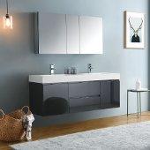 Valencia 60'' Dark Slate Gray Wall Hung Double Sink Modern Bathroom Vanity w/ Medicine Cabinet, Vanity Base: 60'' W x 19'' D x 23-11/16'' H, Medicine Cabinet: 49'' W x 5'' D x 26'' H