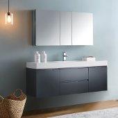Valencia 60'' Dark Slate Gray Wall Hung Modern Bathroom Vanity w/ Medicine Cabinet, Vanity Base: 60'' W x 19'' D x 23-11/16'' H, Medicine Cabinet: 49'' W x 5'' D x 26'' H