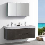 Valencia 60'' Gray Oak Wall Hung Double Sink Modern Bathroom Vanity w/ Medicine Cabinet, Vanity Base: 60'' W x 19'' D x 23-11/16'' H, Medicine Cabinet: 49'' W x 5'' D x 26'' H