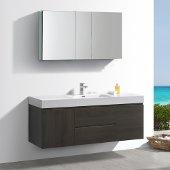 Valencia 60'' Gray Oak Wall Hung Modern Bathroom Vanity w/ Medicine Cabinet, Vanity Base: 60'' W x 19'' D x 23-11/16'' H, Medicine Cabinet: 49'' W x 5'' D x 26'' H