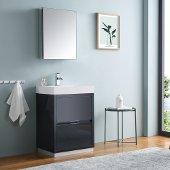 Valencia 24'' Dark Slate Gray Free Standing Modern Bathroom Vanity w/ Medicine Cabinet, Vanity Base: 24'' W x 19'' D x 33-1/2'' H, Medicine Cabinet: 19-1/2'' W x 5'' D x 26'' H