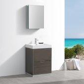 Valencia 24'' Gray Oak Free Standing Modern Bathroom Vanity w/ Medicine Cabinet, Vanity Base: 24'' W x 19'' D x 33-1/2'' H, Medicine Cabinet: 19-1/2'' W x 5'' D x 26'' H