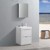Valencia 24'' Glossy White Free Standing Modern Bathroom Vanity w/ Medicine Cabinet, Vanity Base: 24'' W x 19'' D x 33-1/2'' H, Medicine Cabinet: 19-1/2'' W x 5'' D x 26'' H