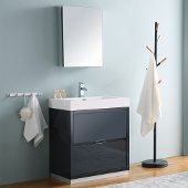 Valencia 30'' Dark Slate Gray Free Standing Modern Bathroom Vanity w/ Medicine Cabinet, Vanity Base: 30'' W x 19'' D x 34'' H, Medicine Cabinet: 19-1/2'' W x 5'' D x 26'' H