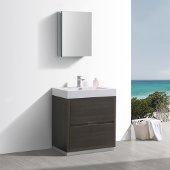 Valencia 30'' Gray Oak Free Standing Modern Bathroom Vanity w/ Medicine Cabinet, Vanity Base: 30'' W x 19'' D x 34'' H, Medicine Cabinet: 19-1/2'' W x 5'' D x 26'' H