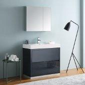 Valencia 36'' Dark Slate Gray Free Standing Modern Bathroom Vanity w/ Medicine Cabinet, Vanity Base: 36'' W x 19'' D x 34'' H, Medicine Cabinet: 29-1/2'' W x 5'' D x 26'' H