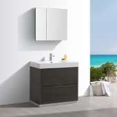 Valencia 36'' Gray Oak Free Standing Modern Bathroom Vanity w/ Medicine Cabinet, Vanity Base: 36'' W x 19'' D x 34'' H, Medicine Cabinet: 29-1/2'' W x 5'' D x 26'' H