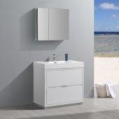 Valencia 36'' Glossy White Free Standing Modern Bathroom Vanity w/ Medicine Cabinet, Vanity Base: 36'' W x 19'' D x 34'' H, Medicine Cabinet: 29-1/2'' W x 5'' D x 26'' H