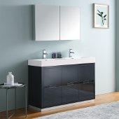 Valencia 48'' Dark Slate Gray Free Standing Double Sink Modern Bathroom Vanity w/ Medicine Cabinet, Vanity Base: 48'' W x 19'' D x 34'' H, Medicine Cabinet: 39-1/2'' W x 5'' D x 26'' H