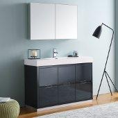 Valencia 48'' Dark Slate Gray Free Standing Modern Bathroom Vanity w/ Medicine Cabinet, Vanity Base: 48'' W x 19'' D x 34'' H, Medicine Cabinet: 39-1/2'' W x 5'' D x 26'' H