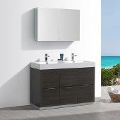 Valencia 48'' Gray Oak Free Standing Double Sink Modern Bathroom Vanity w/ Medicine Cabinet, Vanity Base: 48'' W x 19'' D x 34'' H, Medicine Cabinet: 39-1/2'' W x 5'' D x 26'' H
