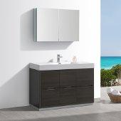 Valencia 48'' Gray Oak Free Standing Modern Bathroom Vanity w/ Medicine Cabinet, Vanity Base: 48'' W x 19'' D x 34'' H, Medicine Cabinet: 39-1/2'' W x 5'' D x 26'' H