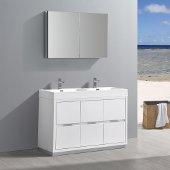 Valencia 48'' Glossy White Free Standing Double Sink Modern Bathroom Vanity w/ Medicine Cabinet, Vanity Base: 48'' W x 19'' D x 34'' H, Medicine Cabinet: 39-1/2'' W x 5'' D x 26'' H