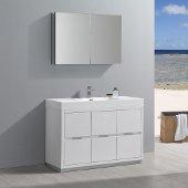 Valencia 48'' Glossy White Free Standing Modern Bathroom Vanity w/ Medicine Cabinet, Vanity Base: 48'' W x 19'' D x 34'' H, Medicine Cabinet: 39-1/2'' W x 5'' D x 26'' H
