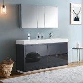 Valencia 60'' Dark Slate Gray Free Standing Double Sink Modern Bathroom Vanity w/ Medicine Cabinet, Vanity Base: 60'' W x 19'' D x 34'' H, Medicine Cabinet: 49'' W x 5'' D x 26'' H