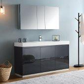 Valencia 60'' Dark Slate Gray Free Standing Modern Bathroom Vanity w/ Medicine Cabinet, Vanity Base: 60'' W x 19'' D x 34'' H, Medicine Cabinet: 49'' W x 5'' D x 26'' H
