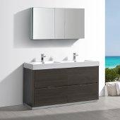 Valencia 60'' Gray Oak Free Standing Double Sink Modern Bathroom Vanity w/ Medicine Cabinet, Vanity Base: 60'' W x 19'' D x 34'' H, Medicine Cabinet: 49'' W x 5'' D x 26'' H