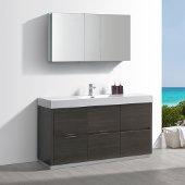 Valencia 60'' Gray Oak Free Standing Modern Bathroom Vanity w/ Medicine Cabinet, Vanity Base: 60'' W x 19'' D x 34'' H, Medicine Cabinet: 49'' W x 5'' D x 26'' H
