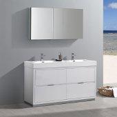 Valencia 60'' Glossy White Free Standing Double Sink Modern Bathroom Vanity w/ Medicine Cabinet, Vanity Base: 60'' W x 19'' D x 34'' H, Medicine Cabinet: 49'' W x 5'' D x 26'' H