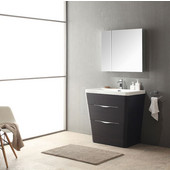 Milano 32'' Chestnut Modern Bathroom Vanity with Medicine Cabinet, Dimensions of Vanity: 31-1/2'' W x 20-1/2'' D x 33-1/4'' H