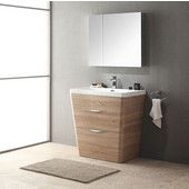 Milano 32'' White Oak Modern Bathroom Vanity with Medicine Cabinet, Dimensions of Vanity: 31-1/2'' W x 21-1/2'' D x 33-1/4'' H