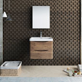 Tuscany 24'' Wall Hung Single Bathroom Vanity Set with Medicine Cabinet in Rosewood Finish, 23-7/10'' W x 18-9/10'' D x 19-7/10'' H