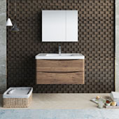 Tuscany 36'' Wall Hung Single Bathroom Vanity Set with Medicine Cabinet in Rosewood Finish, 35-1/2'' W x 18-9/10'' D x 19-7/10'' H