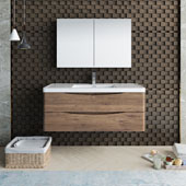 Tuscany 48'' Wall Hung Single Bathroom Vanity Set with Medicine Cabinet in Rosewood Finish, 47-3/10'' W x 18-9/10'' D x 19-7/10'' H