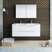 Tuscany 48'' Wall Hung Double Bathroom Vanity Set with Medicine Cabinet in Glossy White Finish, 47-3/10'' W x 18-9/10'' D x 19-7/10'' H