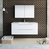 Tuscany 48'' Wall Hung Single Bathroom Vanity Set with Medicine Cabinet in Glossy White Finish, 47-3/10'' W x 18-9/10'' D x 19-7/10'' H