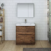 Tuscany 32'' Freestanding Single Bathroom Vanity Set with Medicine Cabinet in Rosewood Finish, 31-1/2'' W x 18-9/10'' D x 33-1/2'' H