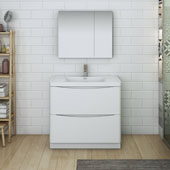 Tuscany 36'' Freestanding Single Bathroom Vanity Set with Medicine Cabinet in Glossy White Finish, 35-1/2'' W x 18-9/10'' D x 33-1/2'' H
