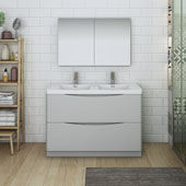 Tuscany 48'' Freestanding Double Bathroom Vanity with Medicine Cabinet in Glossy Gray Finish, 47-3/10'' W x 18-9/10'' D x 33-1/2'' H