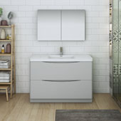 Tuscany 48'' Freestanding Single Bathroom Vanity with Medicine Cabinet in Glossy Gray Finish, 47-3/10'' W x 18-9/10'' D x 33-1/2'' H