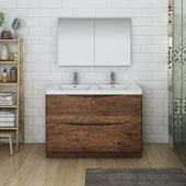 Tuscany 48'' Freestanding Double Bathroom Vanity with Medicine Cabinet in Rosewood Finish, 47-3/10'' W x 18-9/10'' D x 33-1/2'' H
