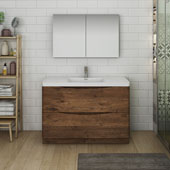 Tuscany 48'' Freestanding Single Bathroom Vanity with Medicine Cabinet in Rosewood Finish, 47-3/10'' W x 18-9/10'' D x 33-1/2'' H