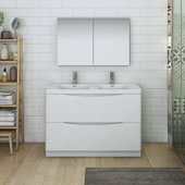 Tuscany 48'' Freestanding Double Bathroom Vanity with Medicine Cabinet in Glossy White Finish, 47-3/10'' W x 18-9/10'' D x 33-1/2'' H