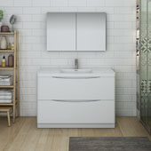 Tuscany 48'' Freestanding Single Bathroom Vanity with Medicine Cabinet in Glossy White Finish, 47-3/10'' W x 18-9/10'' D x 33-1/2'' H