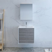 Catania 24'' Wall Hung Single Bathroom Vanity Set with Medicine Cabinet in Glossy Ash Gray Finish, 23-4/5'' W x 18-1/2'' D x 23-1/5'' H
