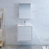 Catania 24'' Wall Hung Single Bathroom Vanity Set with Medicine Cabinet in Glossy White Finish, 23-4/5'' W x 18-1/2'' D x 23-1/5'' H