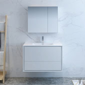 Catania 36'' Wall Hung Single Bathroom Vanity Set with Medicine Cabinet in Glossy White Finish, 35-3/5'' W x 18-1/2'' D x 23-1/5'' H