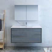 Catania 48'' Wall Hung Bathroom Vanity with Medicine Cabinet in Gray Finish, 47-3/10'' W x 18-1/2'' D x 23-1/5'' H