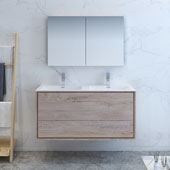 Catania 48'' Wall Hung Double Sink Bathroom Vanity with Medicine Cabinet in Rustic Natural Wood Finish, 47-3/10'' W x 18-1/2'' D x 23-1/5'' H
