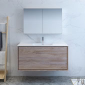 Catania 48'' Wall Hung Bathroom Vanity with Medicine Cabinet in Rustic Natural Wood Finish, 47-3/10'' W x 18-1/2'' D x 23-1/5'' H